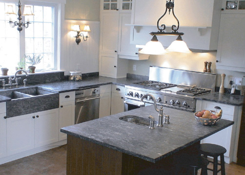 Kitchen countertops and sink in soapstone